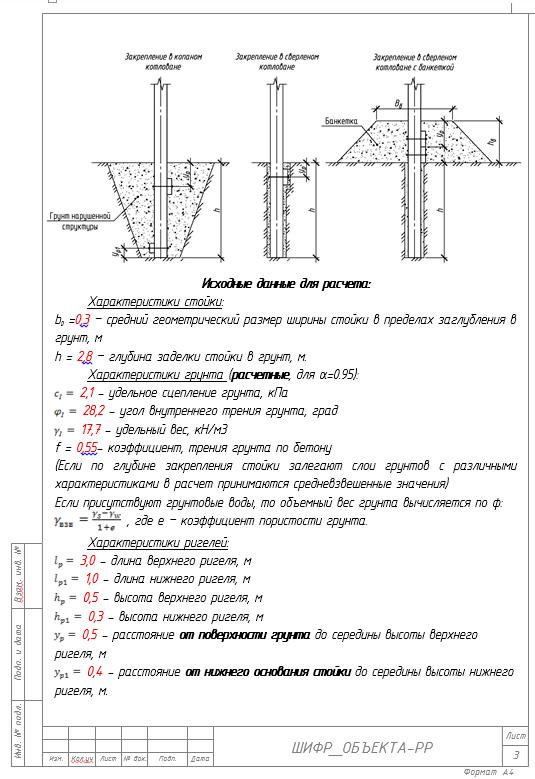 Шаблон оформления расчета стойки в грунте на горизонтальную силу (на опрокидывание)